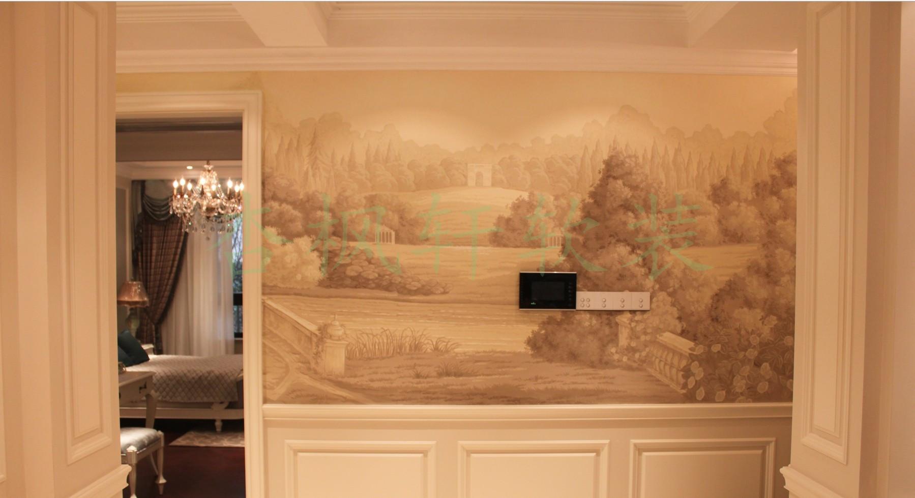 真丝手绘壁纸 丝绸手绘墙纸 真丝手绘刺绣壁纸 手绘绢画 手绘夹绢