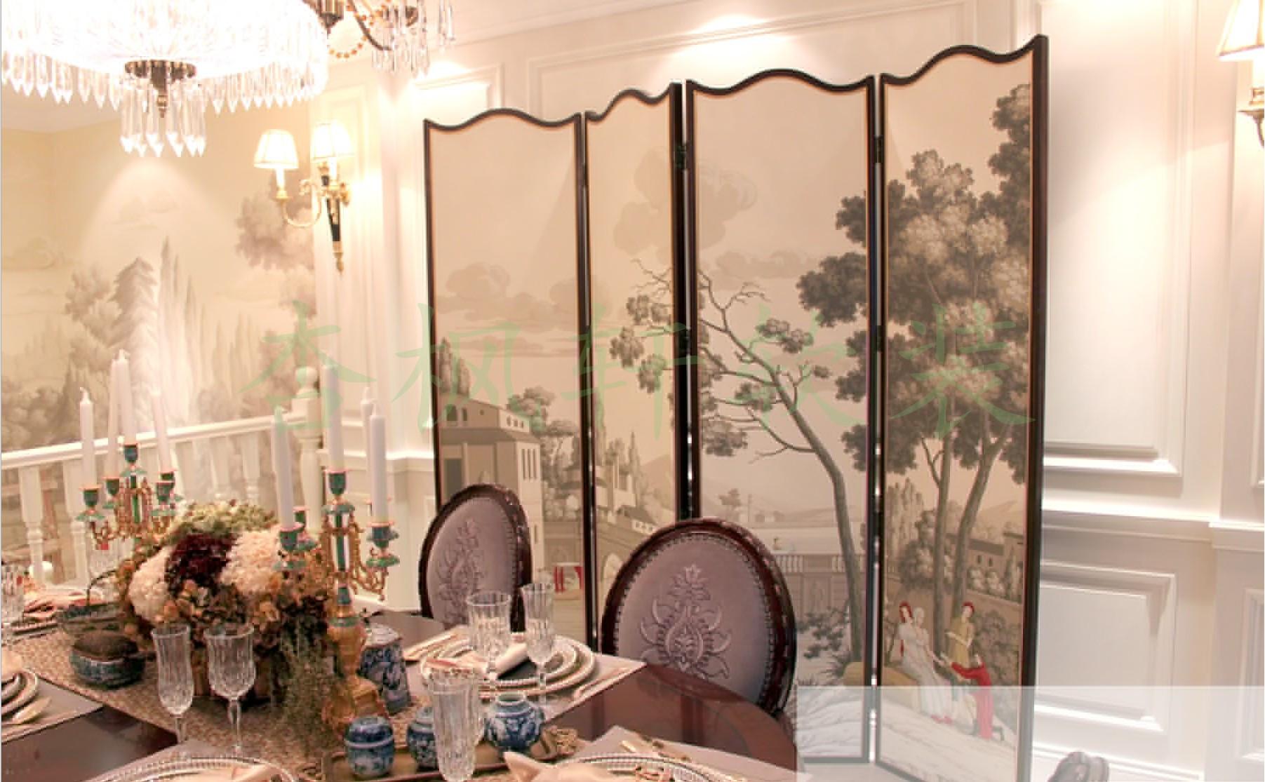 真丝手绘壁纸 丝绸手绘墙纸 真丝手绘刺绣壁纸 手绘