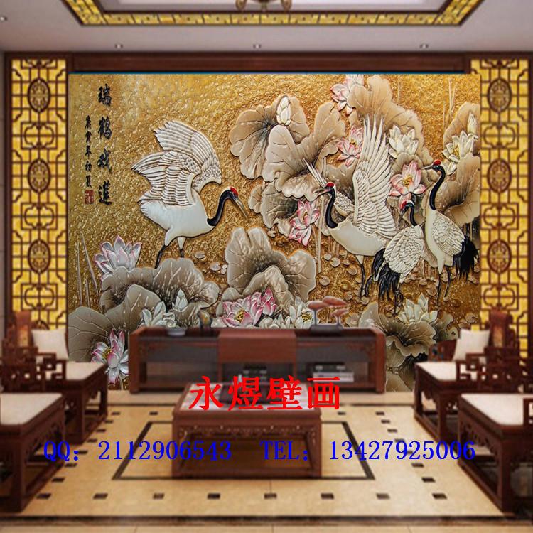 墙纸木雕背景墙|客厅沙发卧室|大型壁画|无缝影视墙