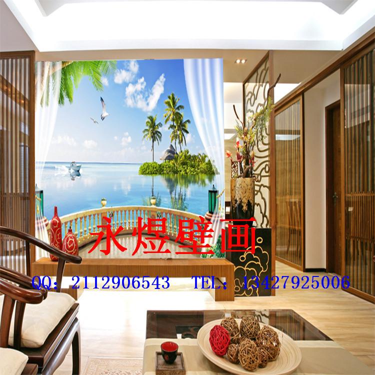 大型3d中式背景墙窗外的风景宣绒绢丝油画布材质客厅沙发3d墙纸