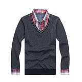 供应海蓝之家剪标衬衫 秋冬款纯色假两件男式加绒衬衣加厚