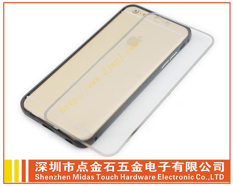 苹果6 plus单色金属边框 全透明背盖批发手机金属边框厂