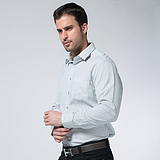 男士綠色條紋襯衫 戈勞恪斯 秋冬款純棉商務休閑襯衫