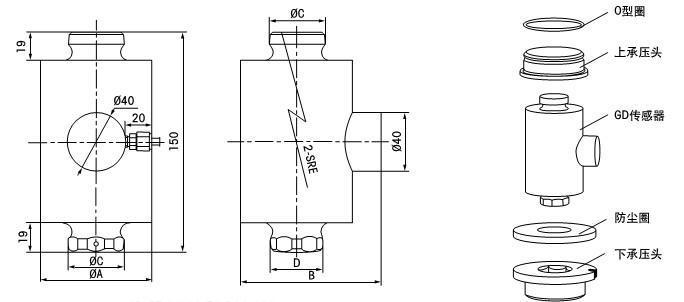 数字称重传感器、防做弊GD数字称重传感器 (15T~250T) 各位朋友,此款GD柱式数字称重传感器与托利多GD柱式数字称重传感器同款,可完全替换托利多同款产品。 外观相似度可达到98%以上,表面喷砂镀镍处理耐用性强,防护等级:IP68。可完全防止 灰尘侵入,防止侵水的水侵入,所以使用环境广。 标准配线:六芯线; 标准线长:13米。 可选配:连接件、固定螺栓、电缆线、接线盒、显示仪表等 温馨提示:此价格不含连接件;请汇款 时自觉承担手续费,各位老板。亲爱的朋友,如果您需特殊要求,请提前与本店沟通,以免给