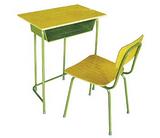 K23型固定学生课桌椅、桌椅面采用三聚氰胺板注塑封边(或多层板)