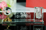 水晶笔筒三件套 创意纪念品 会议活动礼品 定制logo笔筒礼品