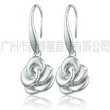 品牌银饰加工厂 原创设计自然时尚街拍925银耳环