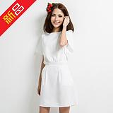 夏季新款女装两件套高腰雪纺上衣百褶裙短袖圆领套装蓬蓬a字裙女