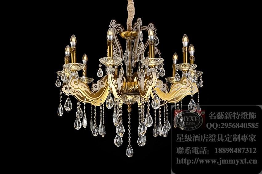 餐厅欧式水晶吊灯,会所简欧水晶灯,灯体发光水晶灯,家居新款水晶灯