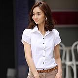 夏季新款女短袖衬衫春夏职业正装V领OL白色韩版大码衬衣纯棉纯色