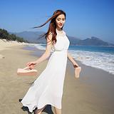 2015夏季新款海边度假高腰显瘦拼接雪纺连衣裙子波西米亚沙滩长裙