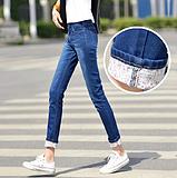 春秋牛仔裤女长裤子潮韩版女式士修身显瘦小脚铅笔裤弹性翻边女装