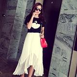 2015春夏装新款不规则半身长裙韩版修身雪纺百褶短仙女裙