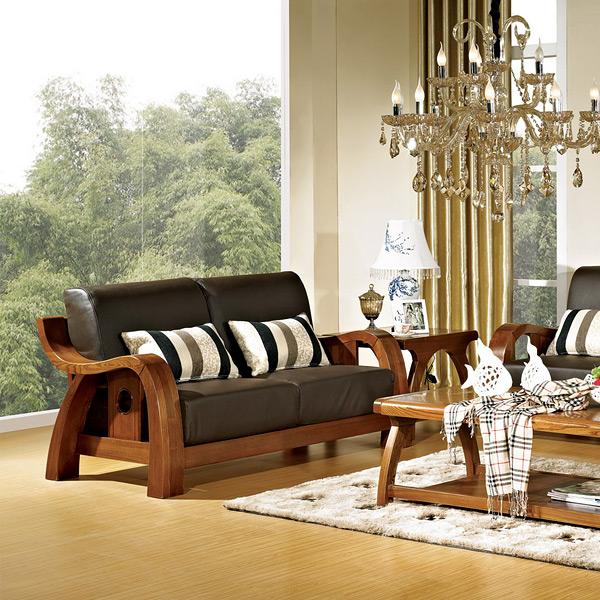 中式简约实木真皮沙发606组合沙发
