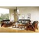 展华家居 中式简约实木真皮沙发606组合沙发 客厅家具