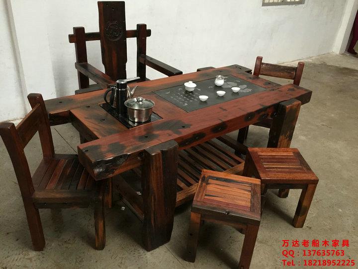 居家首选家具老船木茶桌茶几餐桌办公桌椅子长凳沙