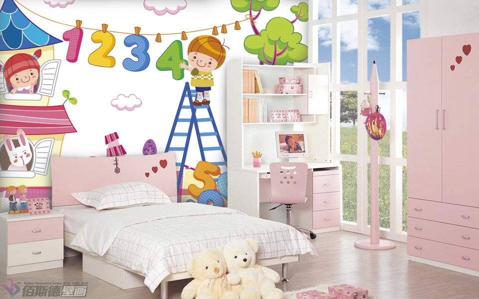 佰斯德个性男孩女孩儿童房间壁画天真童趣背景墙环保