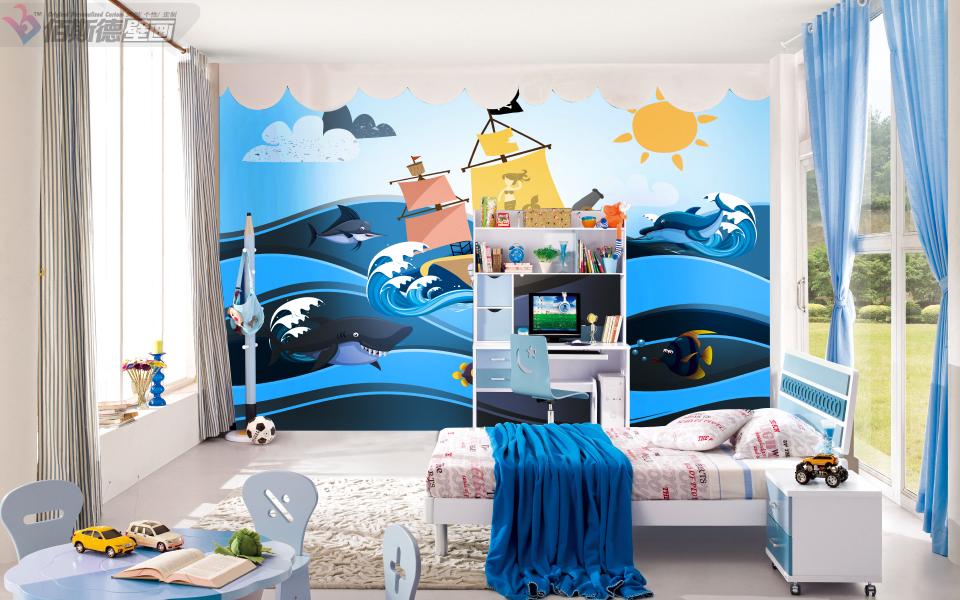 佰斯德个性男孩女孩儿童房间壁画天真童趣背景墙环保壁纸墙纸