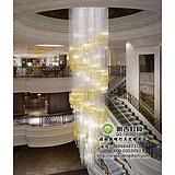 酒店楼梯水晶吊灯,旋转楼梯水晶灯,工程楼梯水晶灯定制,现代水晶灯