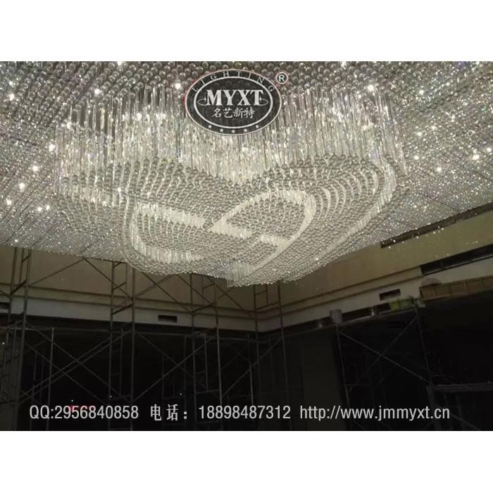 图案造型水晶灯,logo造型水晶灯,酒店大型工程水晶灯,灯具定制