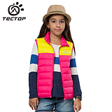韩版时尚马甲 加厚超轻保暖 拼色条纹儿童款羽绒背心 YW5187