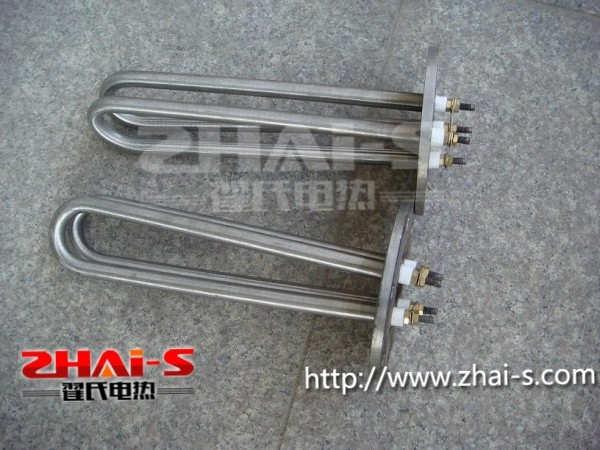 法兰式电热管产品优点: 1 、法兰式电热管表面功率大,是空气加热表面负荷的 2 ~ 4倍。 2 、法兰式电热管高度密集式、结构紧凑。由于整体短而密集,故稳定性好,安装无需支架。 3 、组合式大多采用氩弧焊接方式使电热管与法兰连接,也可利用紧固装置的形式,即每支电热管上焊有紧固件,然后与法兰盖采用螺母锁紧,管子与紧固件采用氩弧焊接,永不泄漏。紧固件密封处采取科学的工艺,单支更换极为方便,大大节约以后的维修成本。 4 、法兰式电热管选择进口及国内优质材料,科学的生产工艺,严格的质量管理,保证电热管优越的电气