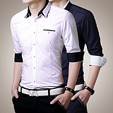 厂供 长袖修身韩版休闲衬衫 简约商务男士衬衣 青年潮流时尚口袋