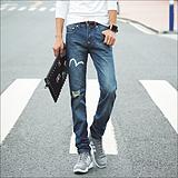【厂家直销】2015夏季新款 韩版修身潮牌个性破洞牛仔裤