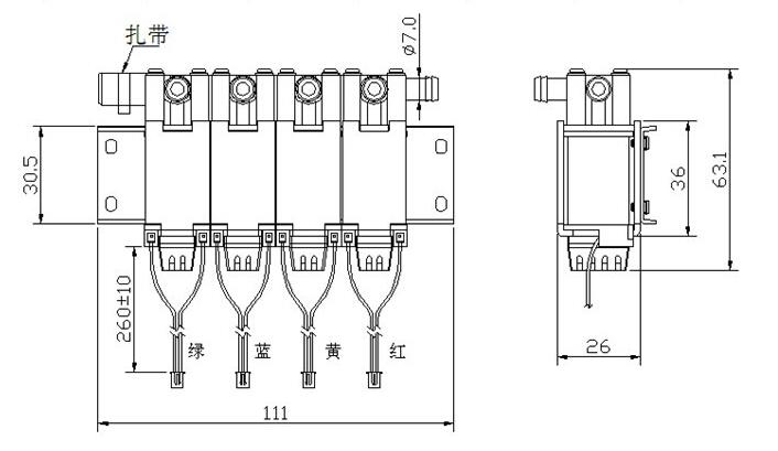 产品名称:【BS-0736V-01-4按摩椅电磁阀】 尺寸:26*63.1*111(mm) 电压:DC12--24V 寿命:100万次 产品详情: 气阀式电磁铁(solenoid)有常闭和常开型两种,常闭型断电时呈关闭状态,当线圈通电时产生电磁力,使可动铁芯克服弹簧力同静铁芯吸合直接开启阀,介质呈通路;当线圈断电时电磁力消失,可动铁芯在弹簧力的作用下复位,直接关闭阀口,介质不通。 结构简单,动作可靠,在零压差和微真空下正常工作,常开型正好相反,如小于6流量通径的电磁阀。 小型和简易的排气管设计,价格