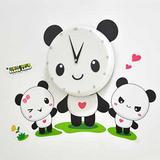 创意壁钟 熊猫墙纸时钟 儿童卧室书房挂钟 成都创意礼品定制