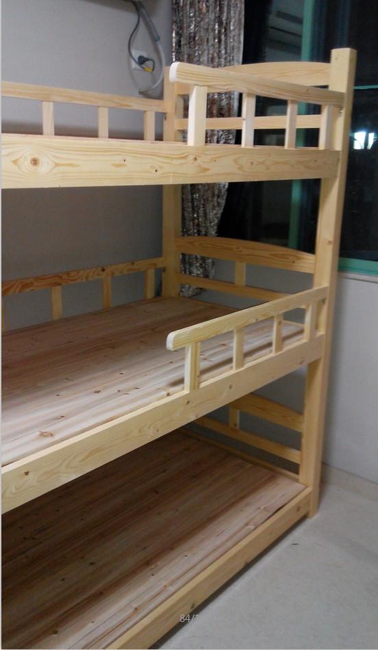 员工宿舍高低床/学生午托床批发/三层实木木床定做