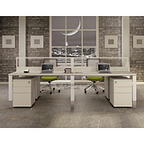 西安办公桌|西安办公家具批发|雅凡家具定制四人位钢木组合员工桌