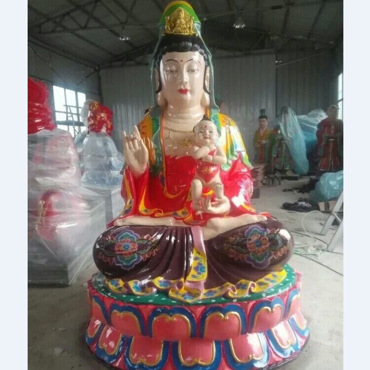 供应送子观音佛像厂家送子娘娘神像价格十二老母像玻璃钢彩绘