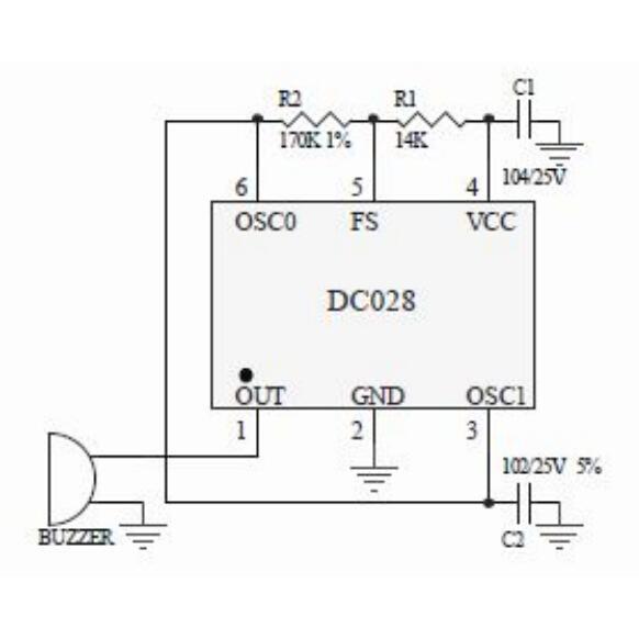 DC028是一款高性能压电蜂鸣片专用驱动电路,采用了新的设计理念和工艺技术,使产品的一致性和各项技术指标有了较好的提升;该IC具有自动频率跟踪和温度补偿功能,使蜂鸣器不会应工作电压和环境温度的变化而发生频率飘移;由于采用了直接驱动方式,有效地克服了三极蜂鸣片反馈极的漏电或高阻造成的失效,有效提高了蜂鸣器长期工作的稳定性和可靠性;同时简化了生产工艺,提高了生产效率。该IC采用了6脚的小型贴片封装(SOT-23-6),适用于多种规格和外形尺寸的压电蜂鸣器,具有不错的性价比,是业内高品质蜂鸣器的好选。