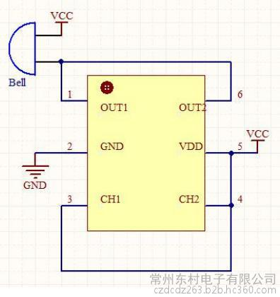 dc020四种音效声蜂鸣器驱动电路 sot23-6 贴片封装