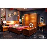 卧室柚木家具组合纯实木双人床1.8米大床全柚木移门整体衣柜 简约