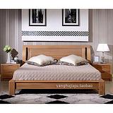 简约 全实木双人床榆木床1.8米1.5米 上海榆木家具厂家直销