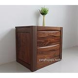 全实木家具黑胡桃木床头柜小储物柜 现代中式 上海黑胡桃木家具定制