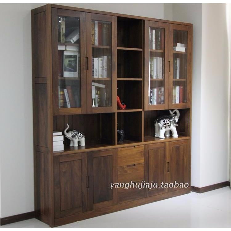 上海实木家具工厂 黑胡桃木书柜五门 二门书柜定制 现代中式