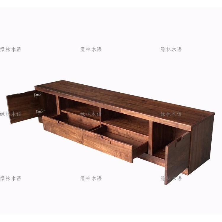 北美黑胡桃木家具 黑胡桃實木電視柜2.2米全實木背景墻柜現代簡約