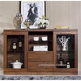 纯实木餐边柜黑胡桃木家具餐厅碗橱玻璃门简约 上海黑胡桃木家具价格