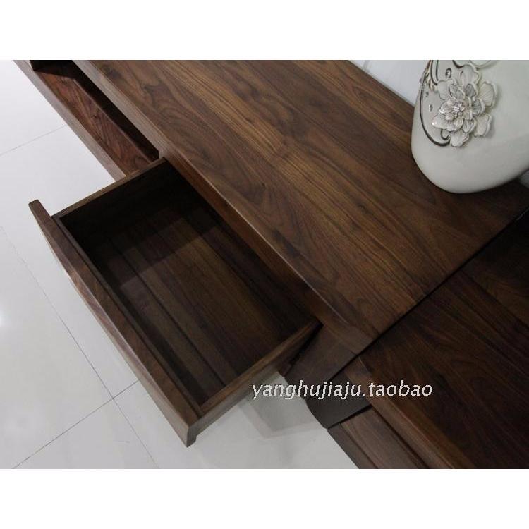 上海客厅家具组合电视柜厅柜黑胡桃木家具全实木电视背景墙柜新款