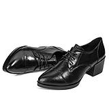 2016欧美春季新款粗跟真皮单鞋中跟尖头中跟鞋温州工作女鞋子新品