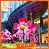 供应商场DP户外广场布景铁艺落地插杆花朵道具