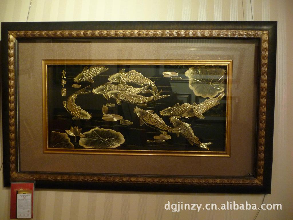 [金之幻]手工雕刻铜板金画,装饰品,礼品-前程似锦