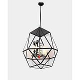 明璞餐厅厨房新中式吊灯 现代客厅新中式玻璃吊灯多边形铁艺吊灯厂家