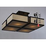 河南阳台中式布艺吸顶灯 方形客厅新中式铁艺吸顶灯 新中式灯饰批发