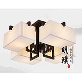 明璞餐厅新中式吸顶灯卧室正方形布艺吸顶灯新中式布艺铁艺吸顶灯批发