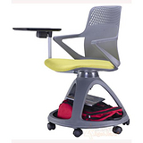 新型学生课桌椅 写字板学习会议记录椅批发 360度旋转培训椅