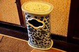 厂家直销环保工艺陶瓷青花垃圾桶 定做加字垃圾桶户外垃圾桶